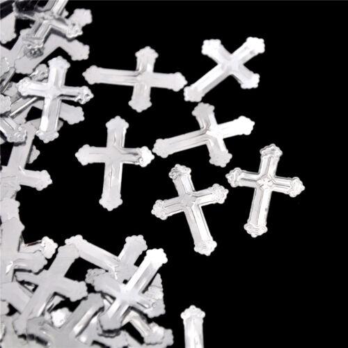 CHRISTENING COMMUNION RELIGIOUS THEME SILVER CROSS PARTY TABLE FOIL CONFETTI HGU