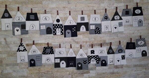 Calendrier de l'avent en tissu 24 maisons