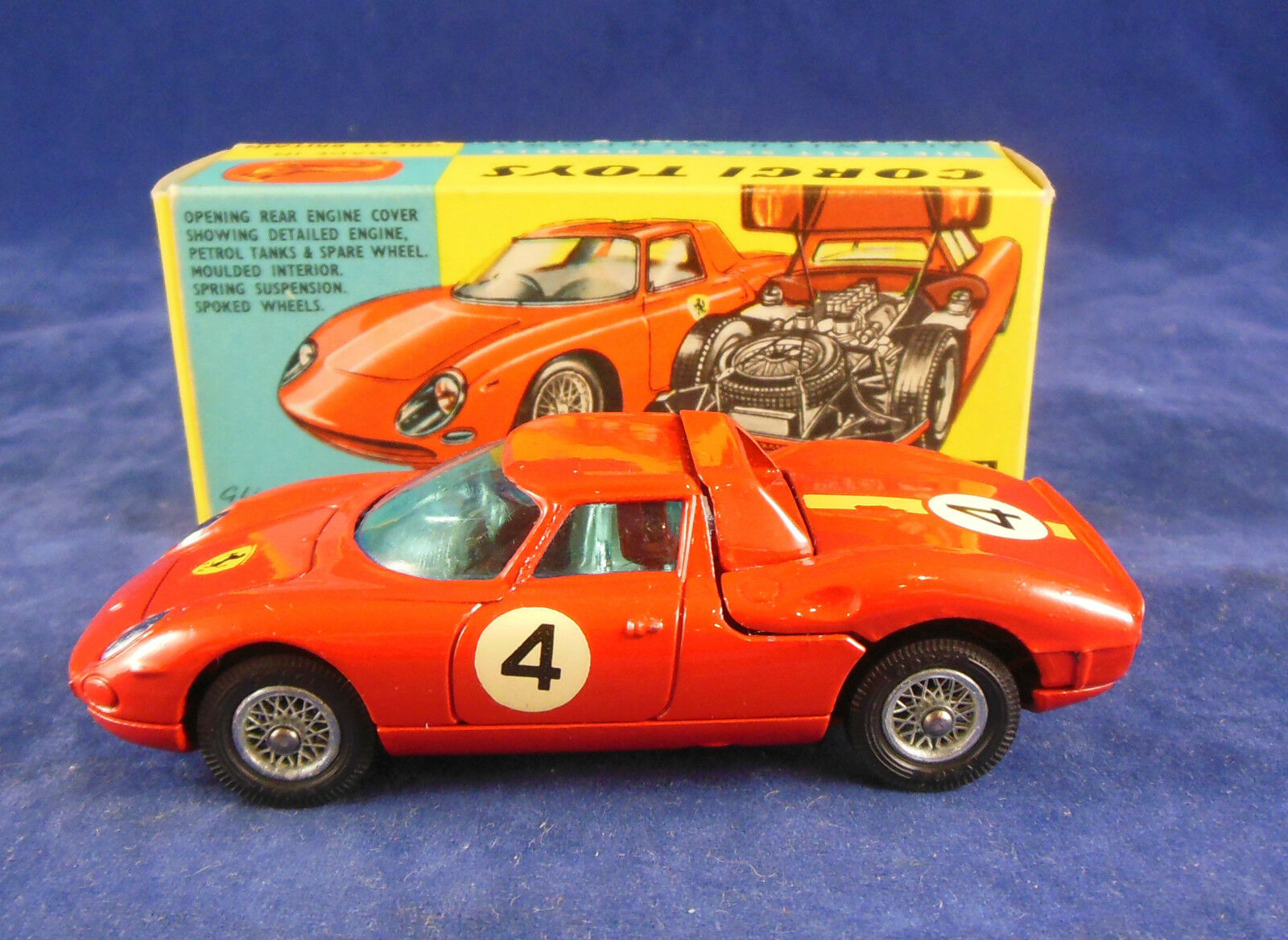 Corgi 314 Ferrari  Berlinetta  250 LE MANS ROUGE no 4 superbe original Cond.