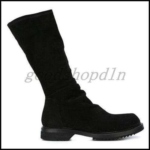 Euro Vogue Mens Winter Genuine Suede Leather Knee High stivali nero scarpe EU42