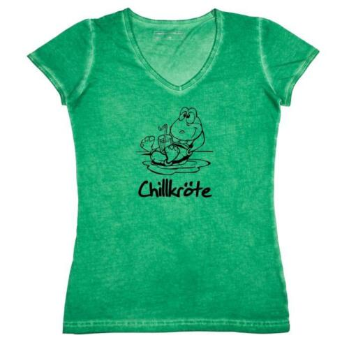 Señora T-Shirt escote en V-chillkröte-Tortuga-fun Style