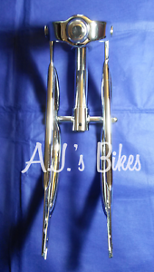 "12/"" Bent Mini Lowrider Springer Forks In Chrome"