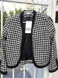 ZARA NEW HOUNDSTOOTH CROPPED TWEED JACKET BLAZER BLACK WHITE XS, XL 2046/439
