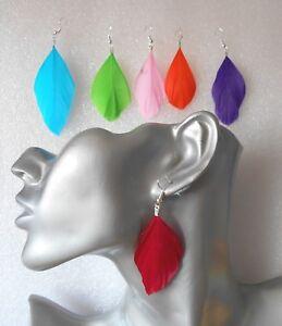 Cute Handmade Goose Feather Earrings Colour Choice Pierced Or