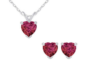 1.50 Ct. Lab Created Ruby Heart Earrings Pendant Set in Sterling Silver