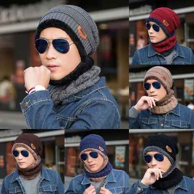 Scarf Neckerchief Men Camping Hat Winter Beanie Baggy Warm Wool Fleece Ski Cap