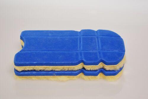 2x Genou Inserts Mousse Coussinets Protecteurs en peau de mouton bleu Kneepad Large Cheveux Court
