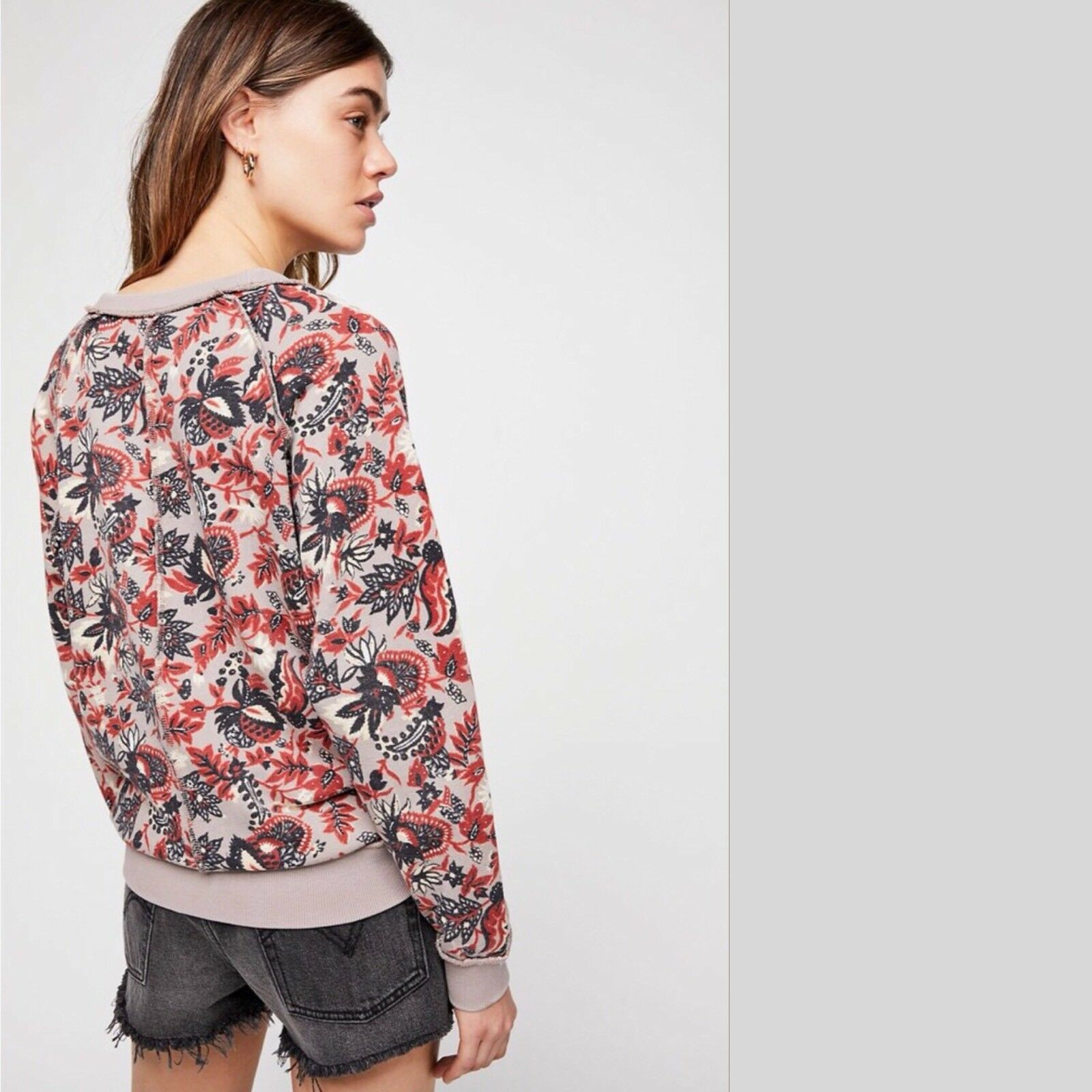 NWT FREE PEOPLE Go on Get Floral Top  Sweatshirt Taupe Small S OB560860