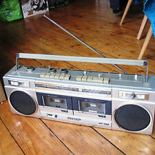 Sharp GF-450 Vintage 80s Radio Cassette Stereo Boombox Ghetto Blaster Silver