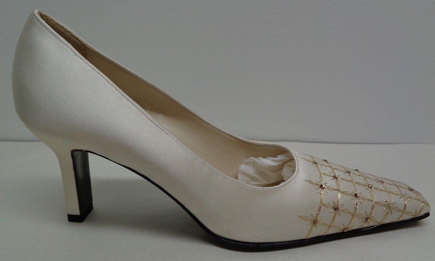 Pancaldi Taille 7.5 AA Narrow P9828F Beige Satin Heels Pumps New femmes chaussures
