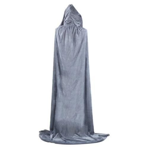 Adult Hooded Velvet Cape Cloak Robe School Witch Vampire Halloween Costume