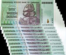 Dealer's Lot 10 X 50 Trillion Dollars Zimbabwe Banknote,1/10 Bundle US Seller