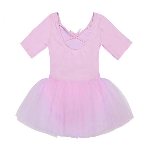 Girls Short Sleeve Ballet Dress Gymnastics Leotards Dancewear Bodysuit Tops