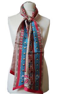 zwei Lagiger Twilly Schal aus reiner Seide mit Blumen und Paisley Motive