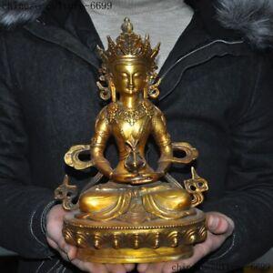 """Asian Antiques Official Website 11""""tibet Buddhism Bronze Gilt Amitayus Longevity Goddess Long Life Buddha Statue Tibet"""