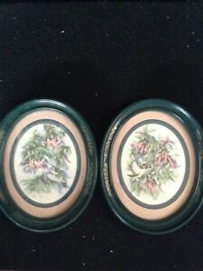 Pair-Oval-Hummingbird-Framed-Prints-by-Don-Kent-1994-Vintage-Wall-Art-Green-Fr