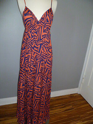 Lara, Beach Multi-Color Striped Spaguetti Strap Full-Length Maxi Dress, SZ S