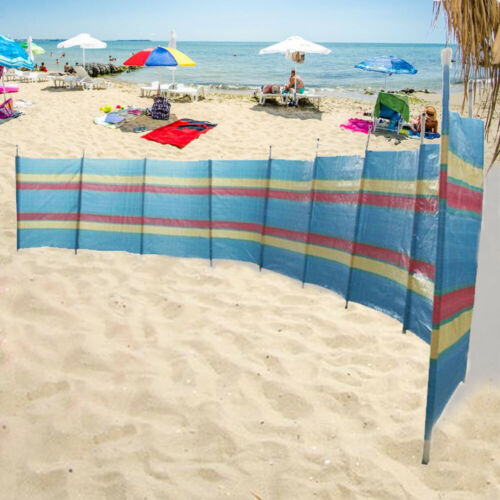 8 Pole Coupe-vent jardin camping Brise-vent Beach Sun Shade Vacances à rayures