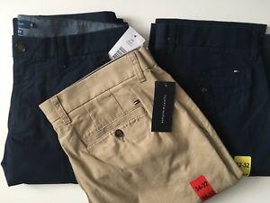 Tommy Hilfiger Para Hombre A Medida Con Pantalones Pantalones Chinos Ebay