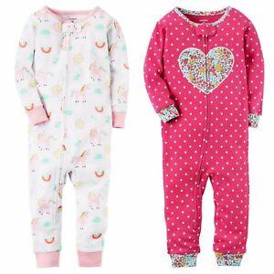 97651f395 Carters Girls 1-Piece Snug Fit Footless Pajama Rainbow Unicorn Heart ...