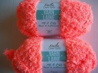 Needle Crafters Soft & Fluffy Plush/fleece Yarn, Bright Salmon,lot Of 2(40 Y Ea)