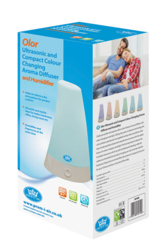 Prem-i-air Olor Ultrasonic Compact Colour Changing Aroma Diffuser and Humidifier