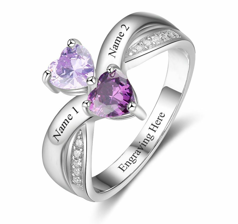Personalized 2 Stone Rival Hearts Engraved Mothers or Couples Ring