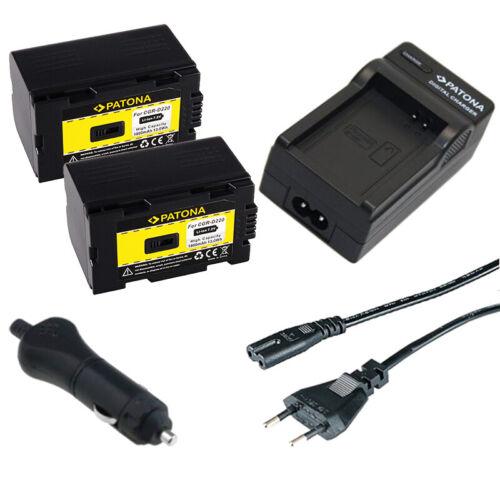 caricabatteria casa//auto per Panasonic NV-EX1,NV-EX21 2x Batteria Patona