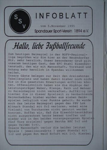 Programm 1995//96 Spandauer SV Stahl Eisenhüttenstadt