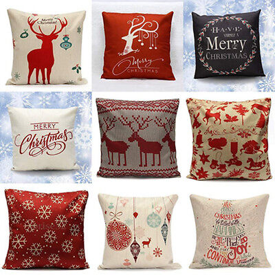 Christmas Linen Cushion Cover Throw Pillow Case Home Decor Festive Gift Healthy