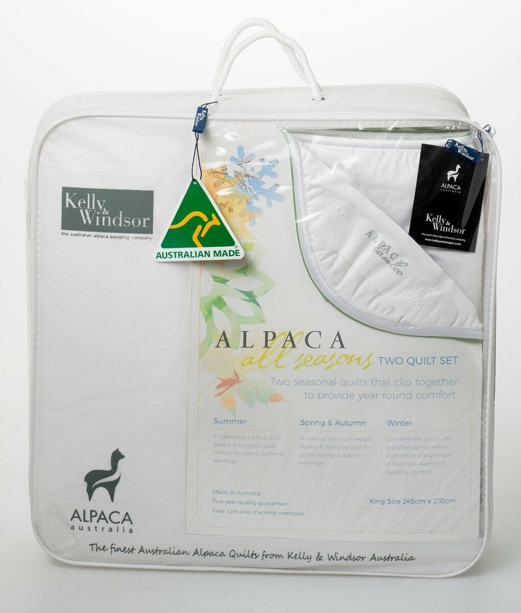 Kelly and Windsor Alpaca Bamboo 300 All Year Round Quilt SUPER KING KING QUEEN
