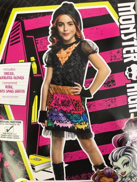 Monster High Costume Skelita Calaveras Child Medium 8-10 Halloween Outfit Dress