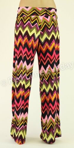 New Chevron Hippie Boho Color Gypsy Fold Over Wide Leg Palazzo Pants Bottoms USA