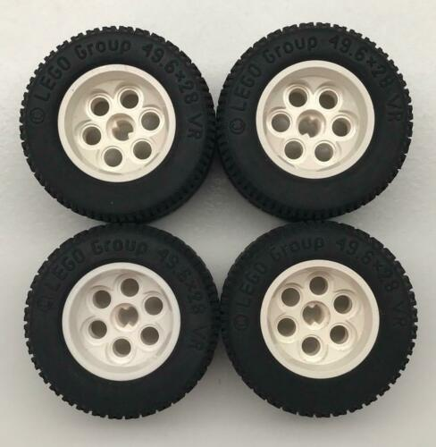 balloon tires lot 4 Lego 49.6 x 28 VR White Technic Wheels Mindstorms Racing