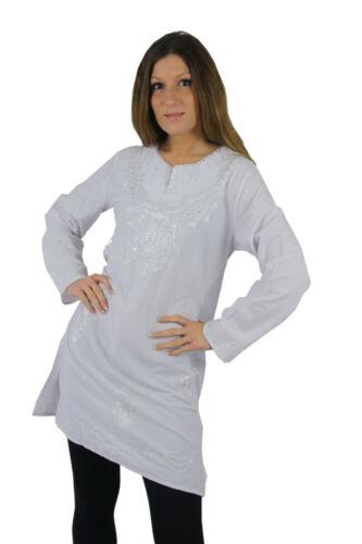 Magnifique oriental femmes tunique Chemisier Avec Broderie En Blanc-ft0038