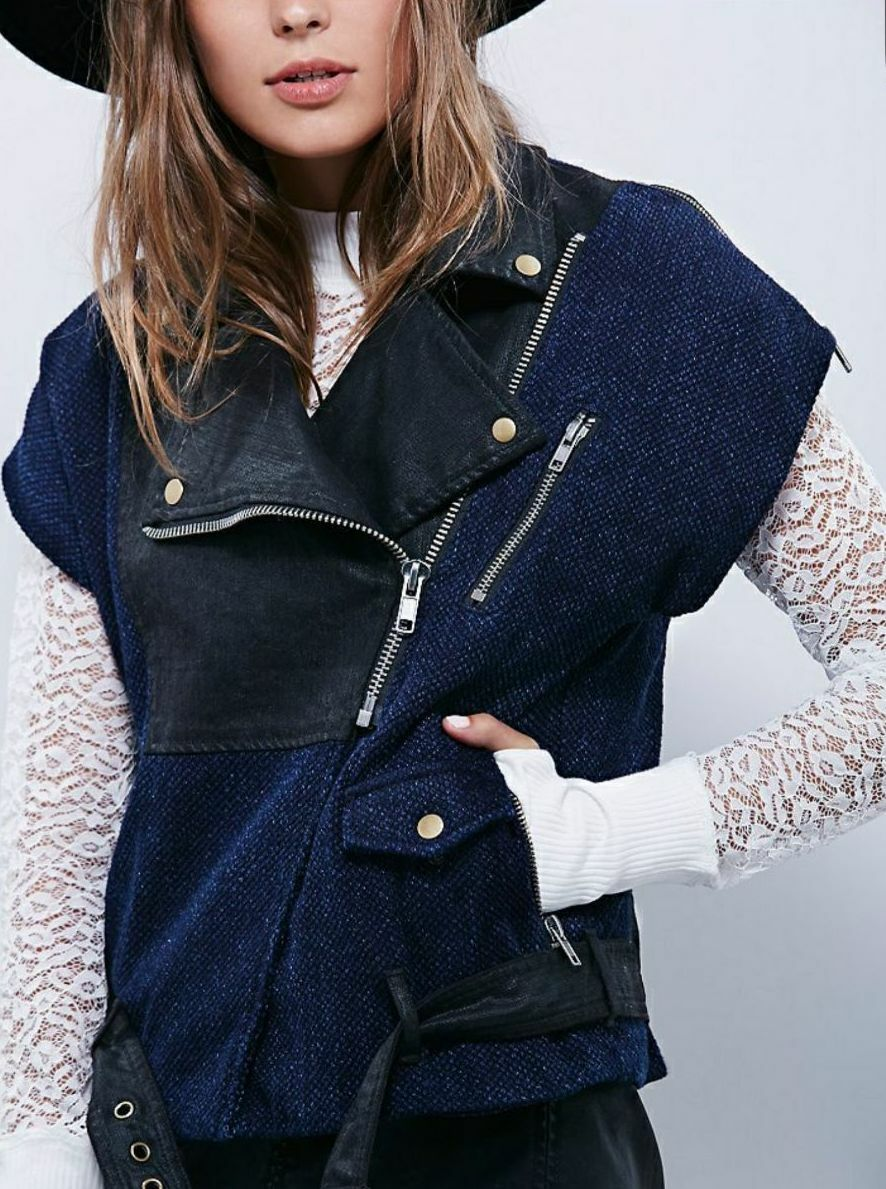 NWOT NEW WOMEN'S FREE PEOPLE blueE ZIP TO IT COTTON MOTORCYCLE VEST SIZE MEDIUM