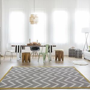 Details About Modern Grey Yellow Mustard Chevron Rug Silver Ochre Zig Zag Living Room Rugs Uk
