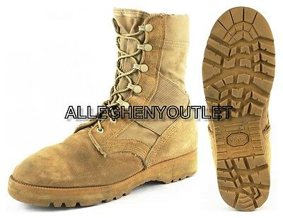 US Military HOT WEATHER COMBAT BOOTS Vibram Sole Desert Tan USA Made EXC 6.5 R