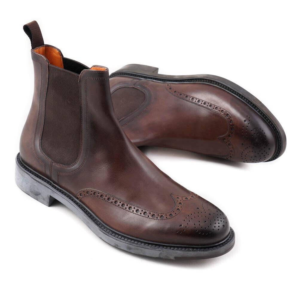 NIB  SANTONI Brown Leather Wingtip Chelsea Ankle Boots US 9 shoes