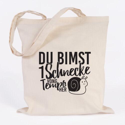 """JUNIWORDS Jutebeutel Motiv /""""Du bimst 1 Schnecke/"""" versch Farben Geschenk Tasche"""