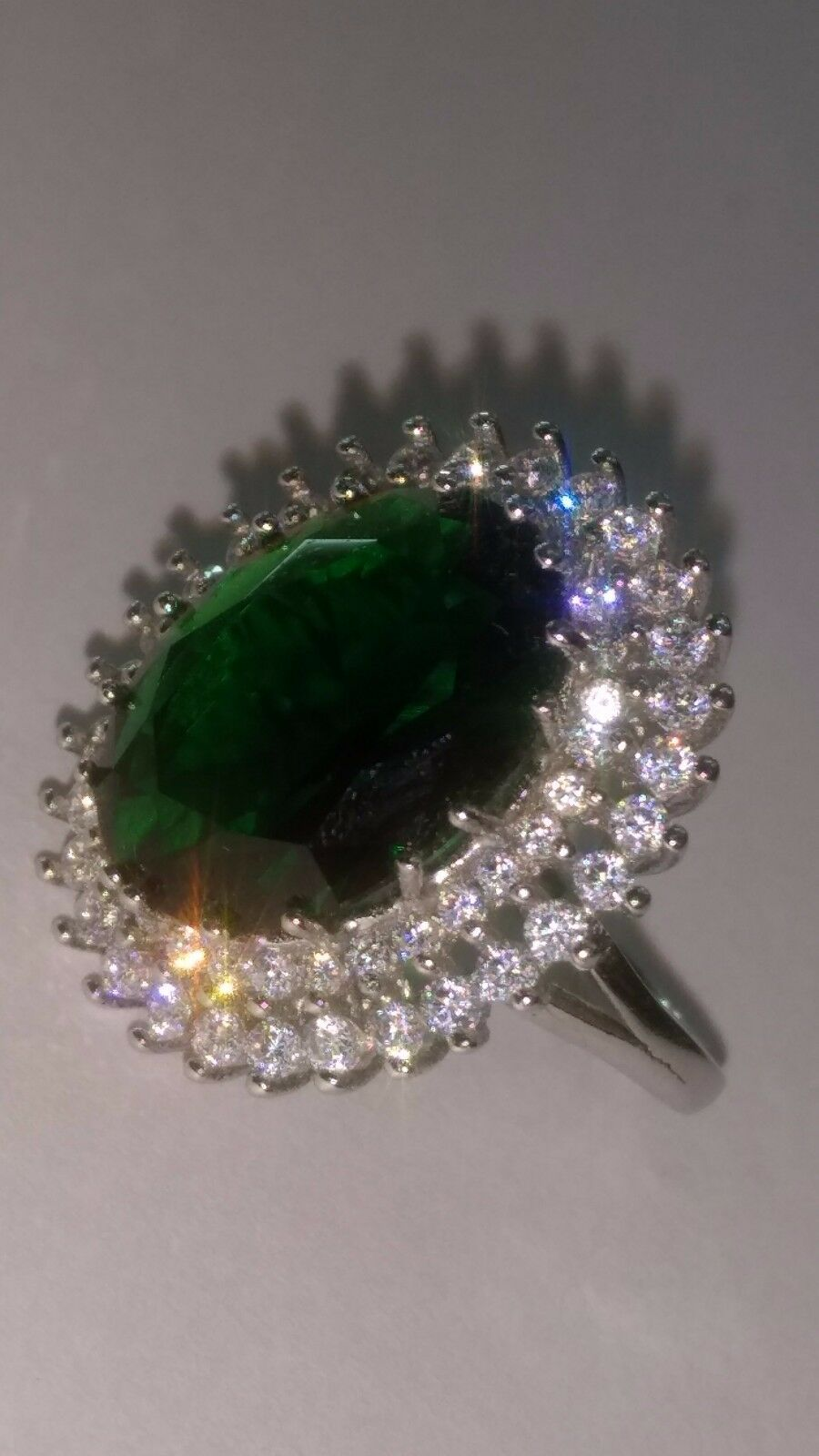 SALE  Wedding Engagement Ring Solitaire Green Emerald Studded Bridal Ring