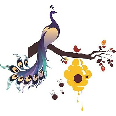 Asmi Collections PVC Wall Stickers Beautiful Peacock on Branches and Honey Bees