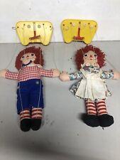 Raggedy Ann & Andy Vintage Marionette Dolls Knickerbocker