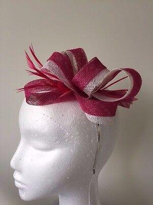 NEW pink sinamay loop fascinator on a silver metal headband!