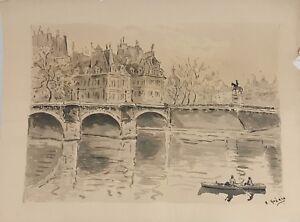PAYSAGE. PONT DE SENNE. PARIS. AQUARELLE SUR PAPIER. A. GUERIN. XXE SIÈCLE.