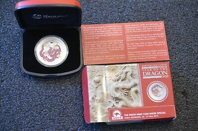 Australia 2012 Lunar Silver Year of the Dragon Purple 1oz Silver Proof Coin Anda