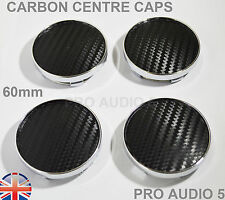 4x 60mm Carbon Black Wheel Centre Hub Caps UNIVERSAL VW Audi Seat Skoda UK Post