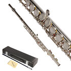 Professional School Student Band Silver 16 Hole C Flute with Case & Accessories