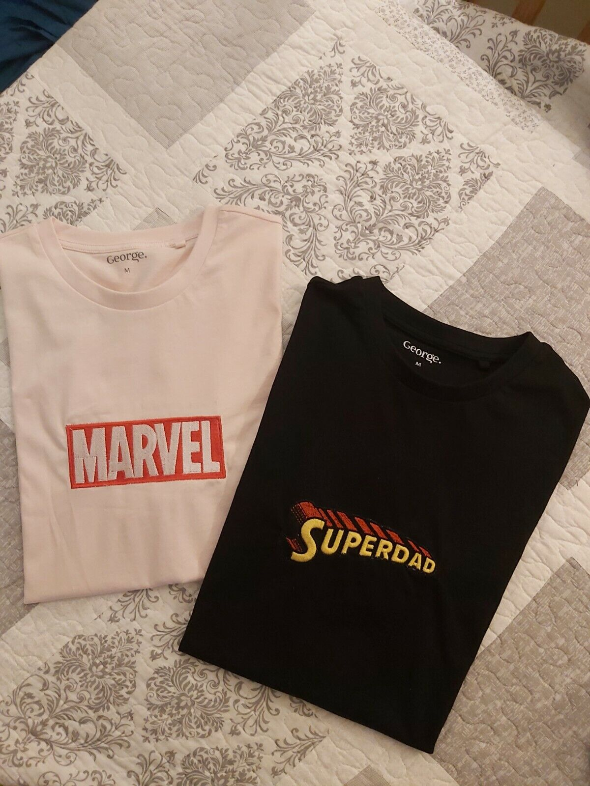 Personalised Embroidery T-shirt Superdad&Marvel