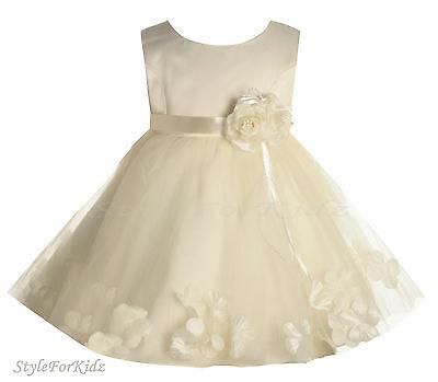 BABY GIRL WHITE/PINK FLOWERGIRL DRESS CHRISTENING WEDDING BRIDESMAID DRESSES